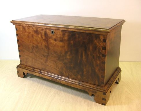 Custom Made Curly Cherry Blanket Chest Keepsake Box With Tiger Maple Tray