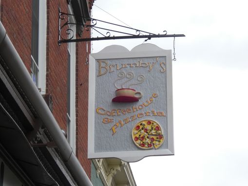Custom Made Brumby's Cafe Artisinal Carved Wood Sign