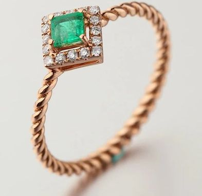 Custom Made 0.5 Carat Emerald Ring In 14k Rose Gold