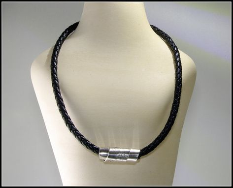 Custom Made Mens Bolo Braided Black Leather Necklace, Silver Engraved Scroll Men Dude Guy Man Rustic