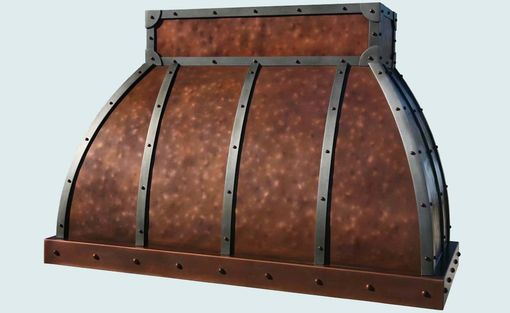 Custom Made Copper Range Hood With Steel Straps & Distressing