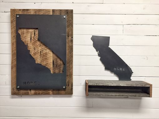 Custom Made California Home State Steel On Reclaimed Wood Wall Decor