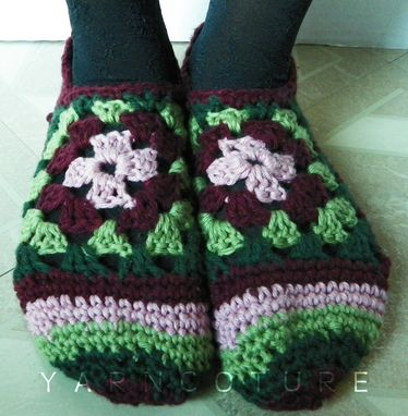 Custom Made Crocheted Granny Square Slippers - Luxuriously Soft - Gift For Her - Ready To Ship - Size S-M