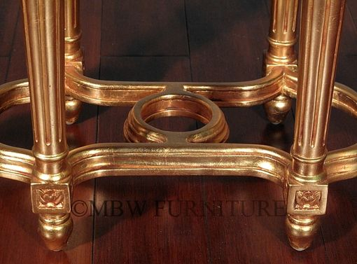 Custom Made Solid Mahogany Gold French Marble Top Side End Table