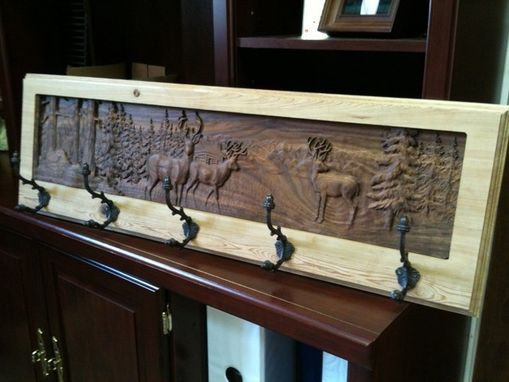 Custom Made Deer Scene Coat Rack