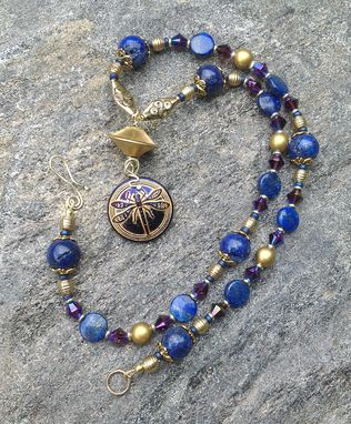 Custom Made Dragonfly Pendant With Lapis Necklace