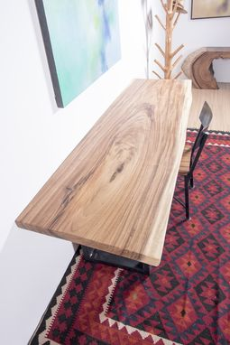 Custom Made Live Edge Wood Slab Table With Black Steel Legs