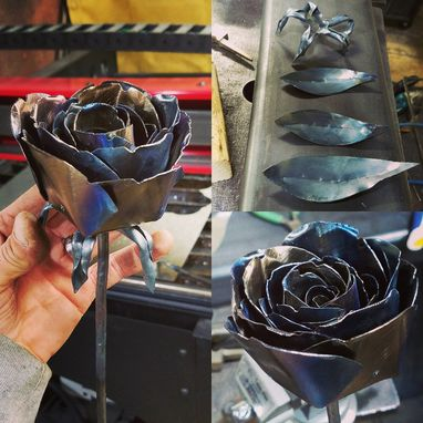 Custom Made Hand Forged Long Stem Forever Rose