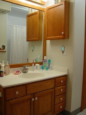 Custom Made Bathroom Vanity, Cabinet & Mirror Surround