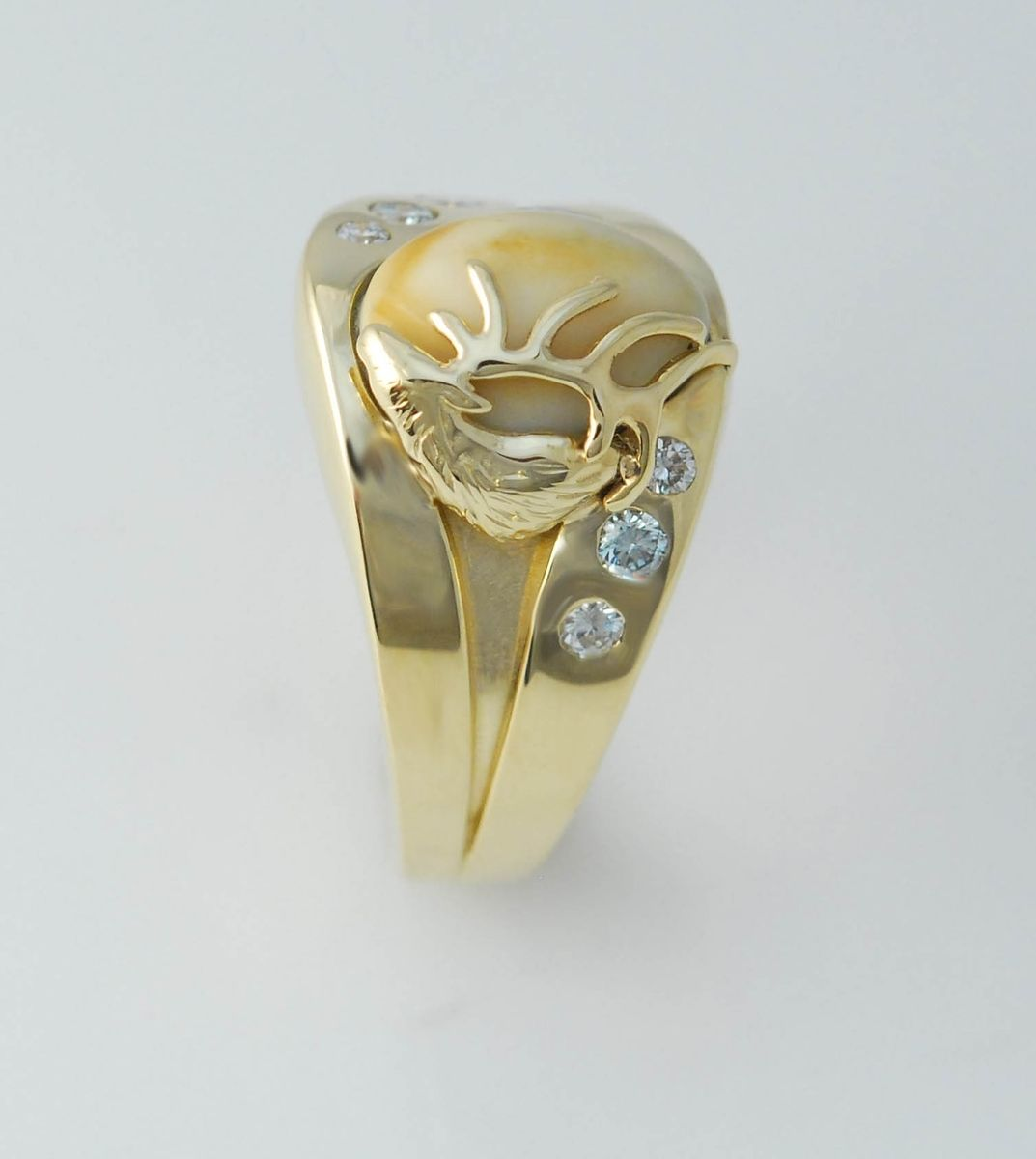 14kt yellow gold and .75cttw diamond elk ivory mens ring…