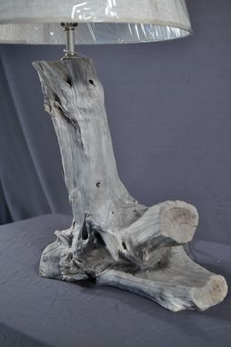 Custom Made Sun Bleached Driftwood Table Lamp