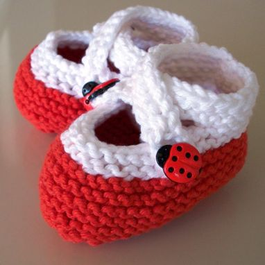 Custom Made Knit Baby Booties Newborn Cotton My Little Ladybug