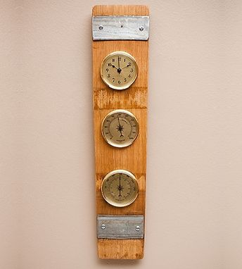 Custom Made Multi Function Barometer, Thermometer Made Of Wine Barrels