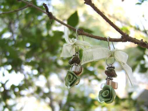 Custom Made Olive Green And Stone Earrings With Bow - Rose Hand-Crafted In Polymer Clay