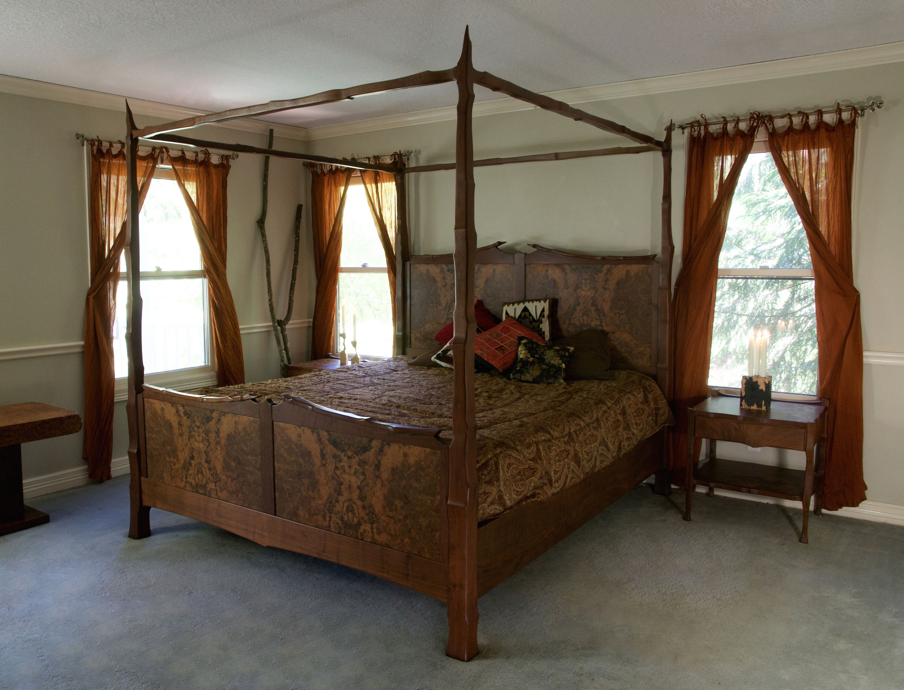 Custom Made Figured Walnut Four Poster Bed by Terry ...