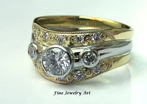 Custom Made 18k Gold & Platinum Diamond Wedding Ring Band - Unique Handmade Custom Two Toned Ring