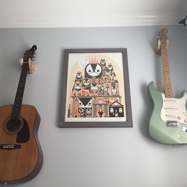 Custom Made Guitar Wall Hanger, Unique Wood Log Instrument Stand Display