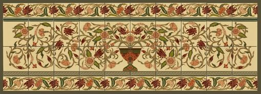 "Custom Made Custom Ceramic Tile Panel: 12""X 60"" Persian Floral Pot + Borders"
