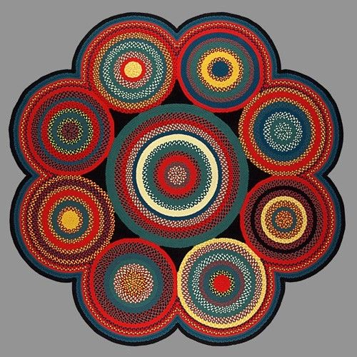 Hand Made Carnival Multi Circle Braided Rug By Country