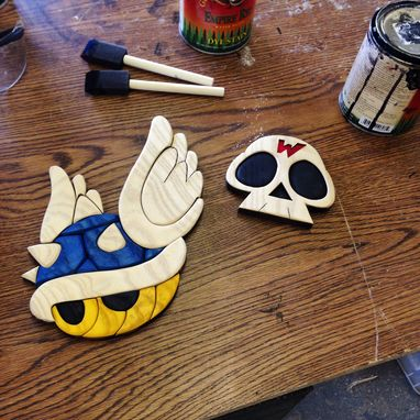 Custom Made Wooden Mario Kart Blue Shell