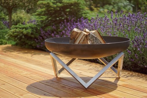 Custom Made Modern Outdoor Patio Rust & Stainless Steel Fire Pit Memel (Large)