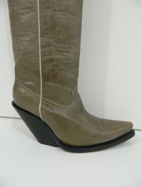 Custom Made 4 Inch High Slanted Heels Cowboy Boots 22 Inches Tall Crack Or Suede  Leather
