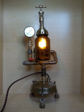 Custom Made Industrial Steampunk Repurposed Upcycled Vintage Optimus No. 100 Camp Stove Table Lamp