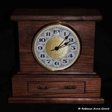Custom Made (One Available Buy Now) Walnut Mantle Clock With Drawer And Hidden Compartment - Handmade