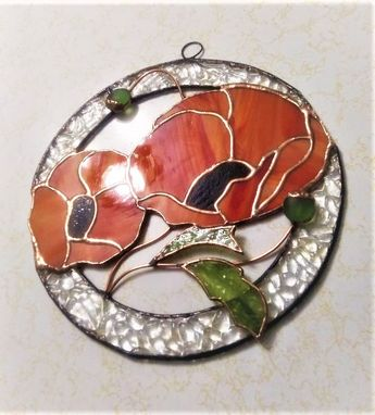 Custom Made (104)  104 Reviews  Orange Poppies - Round Stained Glass Panel/ Sun Catcher With 3d Leaves And Buds