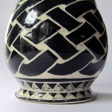 Custom Made Handmade Stoneware Vase With Celtic Knot And Wave Carved Pattern