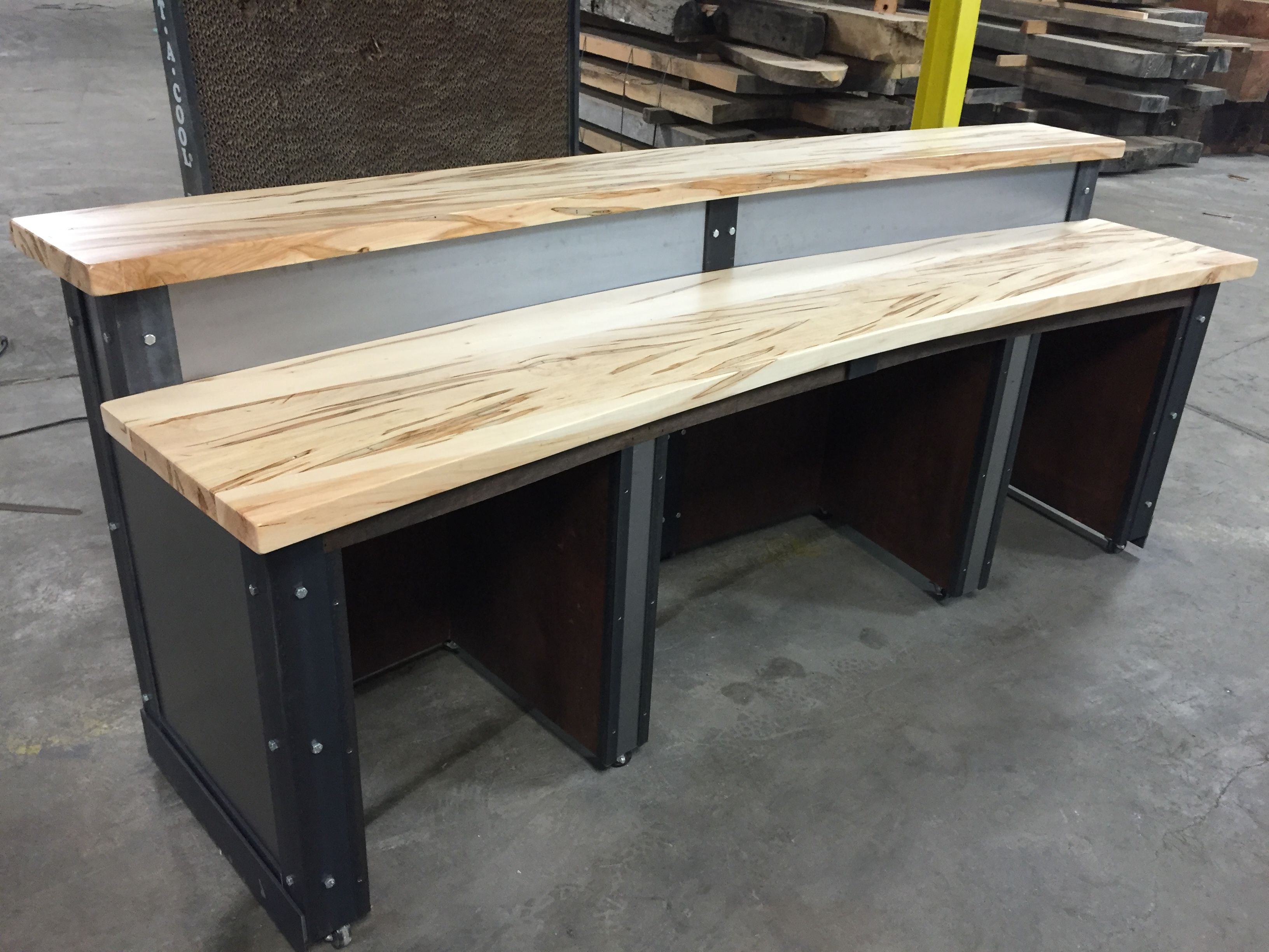 Buy A Custom Made Sleek Metal Front Desk Reception Desk Made To Order From The Industrial