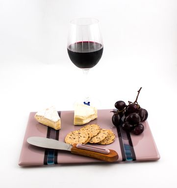 Custom Made Fused Glass Cheese Tray In Purple And Mauve