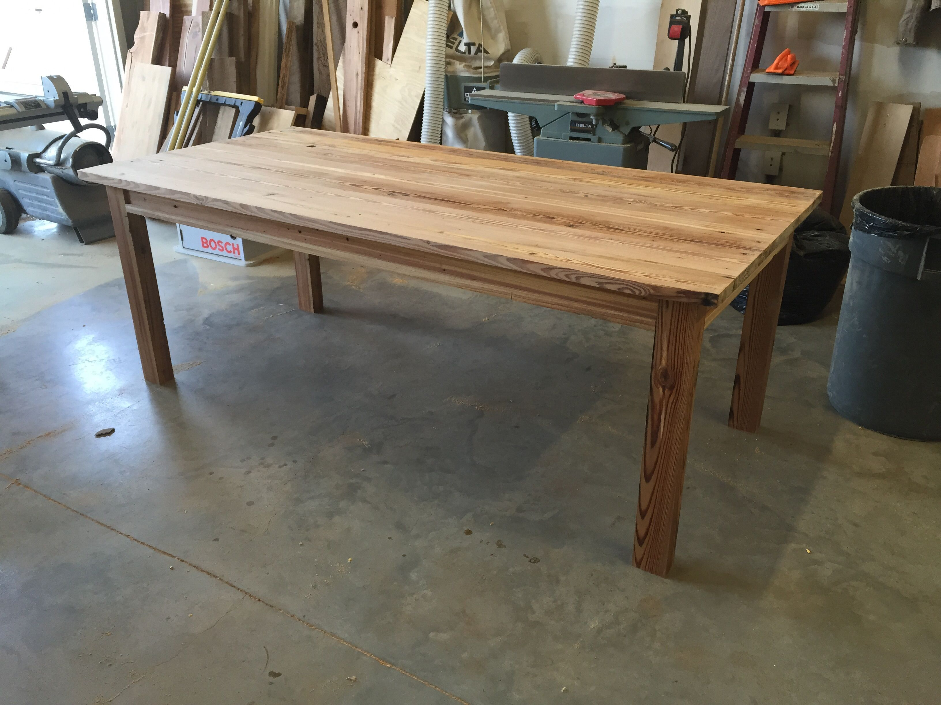 Hand Made Heart Pine Dining Table By Saw Mark Funiture