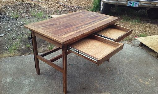 Custom Made Custom Reclaimed Fishtail Oak Adjustable Drafting Table