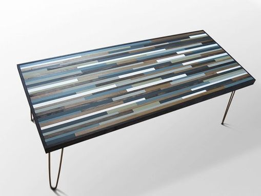 Custom Made Modern Wood Coffee Table With Hairpin Legs