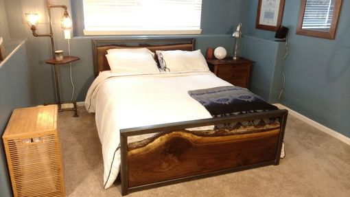 Custom Made Steel Framed - Walnut Slab - Queen Bed Frame