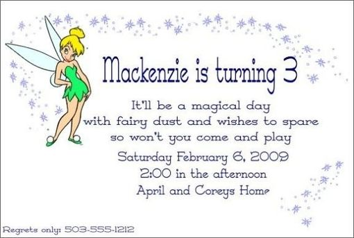 Custom Made Custom Tinkerbell Childrens Invitation