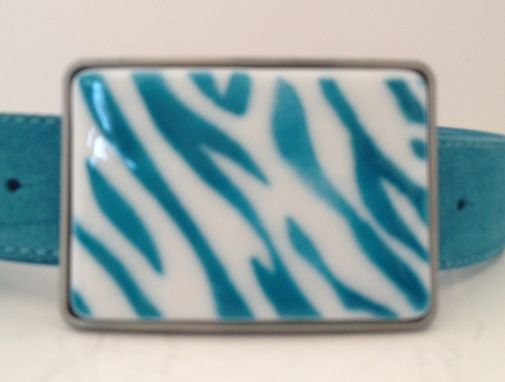 Custom Made Aqua Colored Zebra Fused Glass Belt Buckle