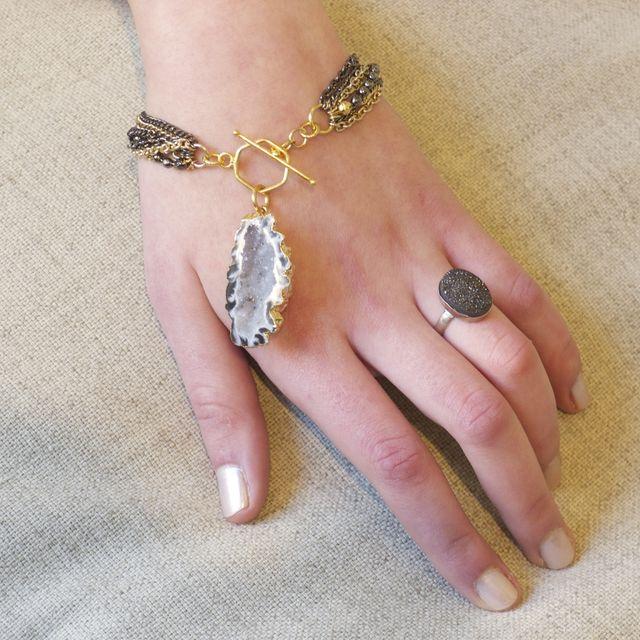 Handmade Raw Mineral Jewelry Geode Bracelet By Pauletta Brooks Wearable Art Custommade