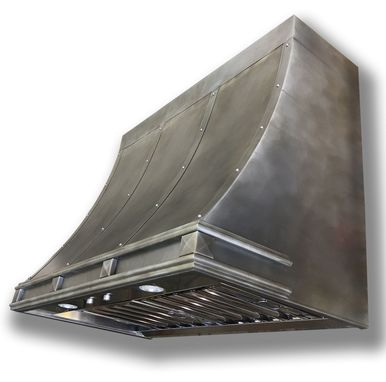 Custom Made #91 Custom Mottled Zinc Range Hood With Custom Squares And Lip Treatments