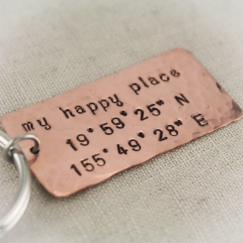 Custom Made Longitude & Latitude Copper Key Chain by Tracy Tayan ...