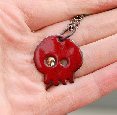 Custom Made Enamel Skull Pendant, Dia De Los Muertos Necklace, Copper, Red Enameled Jewelry - Baby Ruby
