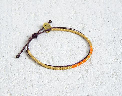 Custom Made Custom Morse Code Bracelet - Gold & Orange