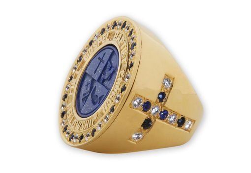 Custom Made Ecclesiastical Ring / Bishops Ring - Features Engraving And Gemstones