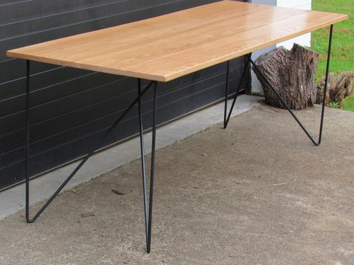 Custom Made Oak Desk W/ Modern Steel Butterfly Hairpin Style Legs.