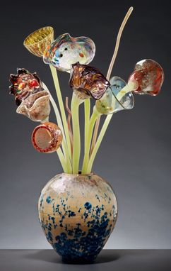 Custom Made Glass Flowers Arrangement In Crystal Glaze Vase