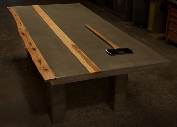 Handmade Concrete Hickory Wood Dining Table By Tao