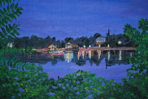 "Custom Made Painting: ""Twilight On Jamaica Pond, Boston"""