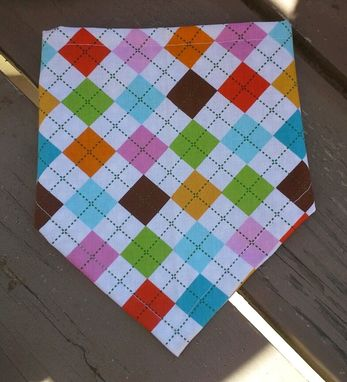 Custom Made Rainbow Argyle Bandana Bib, Reversible Bibdana For Baby