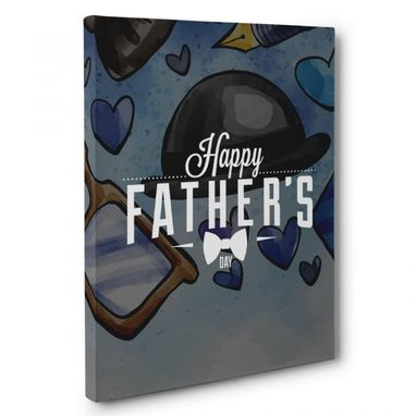 Custom Made Happy Father'S Day Tie Canvas Wall Art